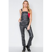Womens Fall Winter Pants Fashion Black Vegan Leather Stretchy Overall Pants
