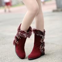 Rabbit Fur Buckle Women's Snow Boots Wedge Heel 3175