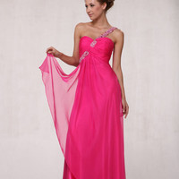 Hot Pink & Silver Beaded Chiffon One Shoulder Prom Dress - 4 to 20 - Unique Vintage - Cocktail, Pinup, Holiday & Prom Dresses.