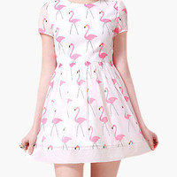 White Flamingo Print Short Sleeve Skater Dress