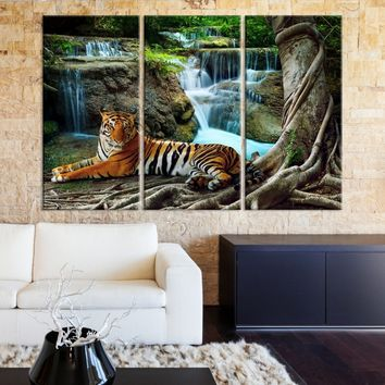 Large Wall Art Animal Canvas Print - Tiger in Forest with Waterfall - MyGreatCanvas.com |  Extra Large Wall Art - Wall Art Print - Large World Map Canvas Print Gallery