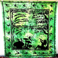 Green Eve Angel Tapestry Bedspread Hippie Star Psychedelic Wall Hanging
