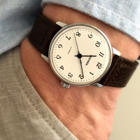 """Vintage Gent's Wristwatch """"SECONDA"""". Mechanical Soviet men's watch, with lovely clean white dial. Comes with new leather band!"""