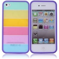 Rainbow Hard Case for Iphone 4 4s Purple Side