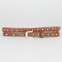 Dome Stud Skinny Faux Leather Belt Cognac One Size For Women 21184140901