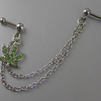 """Double Piercing Chains with Pot Leaf 16G 1/4"""" Bars Cartilage Dangle Earring Dangle Chains Marijuana Jewelry Green Cannabis"""