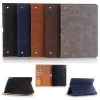 New 2017 For iPad Pro 10.5 inch Tablet Retro Matte PU Leather Cover Shell Case with Stand + Film +Stylus