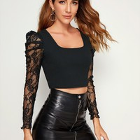 Lace Gigot Sleeve Cropped Top