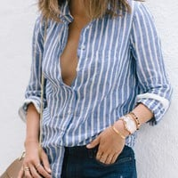 Blue Stripe Turn Down Neck Long Sleeve Shirt