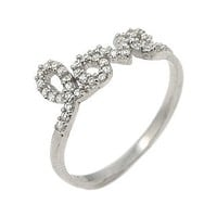 Rhodium Plated Sterling Silver Cz Love Ring