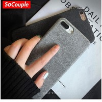 SoCouple Cloth Texture Soft TPU case For iphone 7 8 7/8 plus Case Ultra-thin Canvas Silicone Phone Cases For iphone 6 6S Plus X