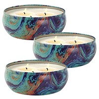 Citronella Candles Set 3, Scented Candles Natural Soy Wax Tin, 25-30 Hour Burn, Outdoor and Indoor Pack 3