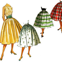 1950s Skirt Pattern Uncut Waist 23 Simplicity 1490 Day or Evening Full Skirt Softly Pleated and Cummerbund Womens Vintage Sewing Patterns