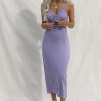Good View Lavender Ruched Tie Midi Dress