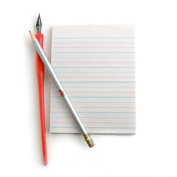 Schoolhouse Notepad  Vintage Inspired Lined Writing Paper with Red & Blue Stripes