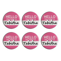 Tabitha Hello My Name Is Plastic Resin Button Set of 6