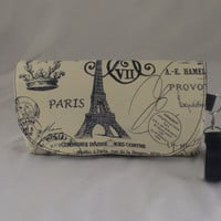 Paris Themed Canvas Clutch with navy blue lining, Free Standart Shipping