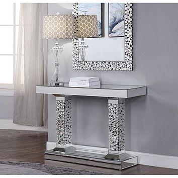 Mirrored Faux Gemstones Dressing Table For Bedroom