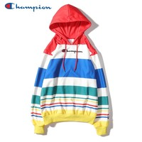 Champion fashion sells rainbow-coloured embroidered casual hoodies for couples