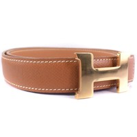 AUTHENTIC HERMES Constance Mini H Belt 75 belt gold Brown Courchevel Women