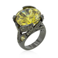 Hematite Yellow Stone Cocktail Ring, size : 05