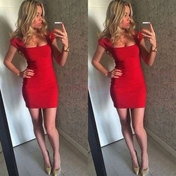 Stylish Lady Formal Short Sleeve Sexy Mini Dress Cocktail Evening Party Ball Prom = 1745307076