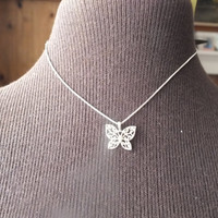 Small Butterfly Pendant on 16 Inch 925 Silver Box Chain Necklace