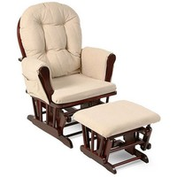 Storkcraft - Beige Bowback Glider Rocker and Ottoman Beige Cushions, Choose Your Finish - Walmart.com