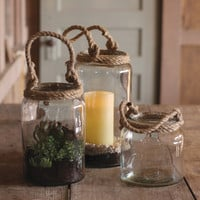 Set of 3 Glass Candle Holders with Rope Handles- One Each Size
