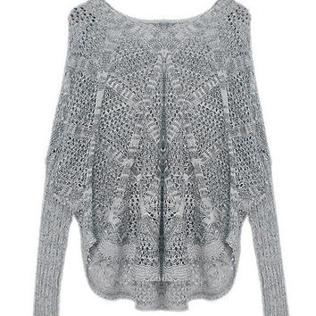 Cut Out V-Neck Long Sleeve Pullover Sweater