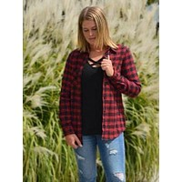Basic Essential Plaid Button Up - red