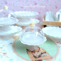 Miniature Glass Display Stand Dome Lid Mini Cake Plate Dish Serving Tray Doll Food kitchen Salver, Wood Crate, Oval, Round, 1:6, 1/12 scale