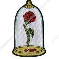 """3.5"""" Beauty and The Beast Enchanted Rose in Dome Applique Patch Embroidered Iron On TV Moive series shirt tranfer girl kids"""
