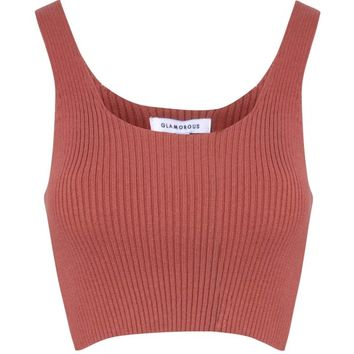 Rust Ribbed Knit Vest