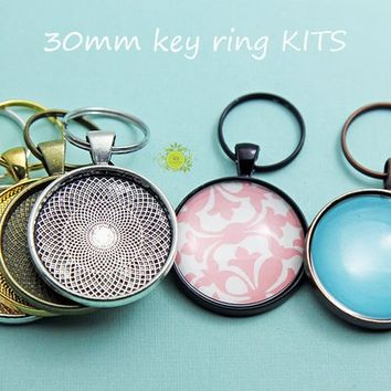 10 Complete Pendant Kits-Photo Keychain-Pendant Trays Kits-10 Split Key Rings -10~30mm Round Silver Plated Pendant Trays- 10 Glass Cabochons