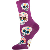 Socksmith Royal Purple Big Muertos Skull Socks