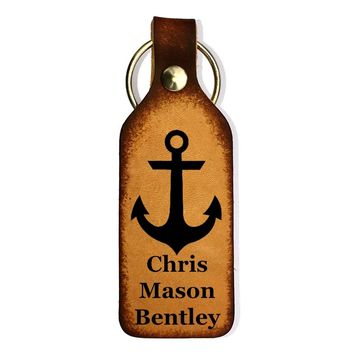 Anchor Engraved with Name Leather Keychain