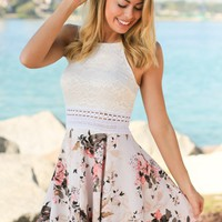 Beige Floral Short Dress with Lace Top