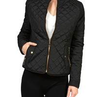 Quilted Long Sleeve Zip Front Jacket