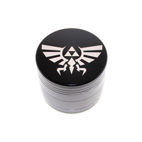 Triforce Legend of Zelda Design Laser Etched Metal Herb Grinder - 4 piece herb grinder w/ FREE bag - weed grinder
