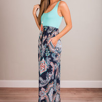 Wish You Well Maxi Dress, Mint-Navy