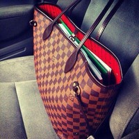 Louis Vuitton Damier Canvas Neverfull MM Red Shoulder Handbag Two Piece Suit Bag