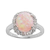 Sterling Silver Lab-Created Pink Opal & Lab-Created White Sapphire Frame Ring