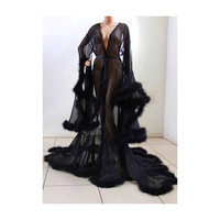 Luxury Sheer Fur Robe Lingerie Jet Black. Feather trim robe with satin ties. High quality lingerie