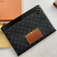 LV New fashion monogram print leather cosmetic bag file package handbag Black