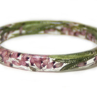 Real Dried Flower Jewelry - Resin Bangle- Pink Flower Bracelet- Pink Jewelry - Green Resin Jewelry- Pink Flower Jewelry