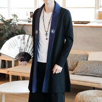 Male  Overcoat Men Cotton Linen Long Slim Fit Coat Chinese Style Robes Jacket Kimono