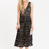 Isabella Black Lace Midi Dress