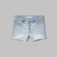 a&f high rise denim shorts