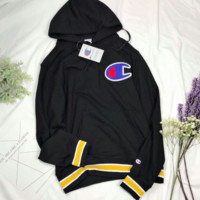 Champion Fashion new autumn letter embroidery hooded sweater loose casual long-sleeved women and men sweater top Black